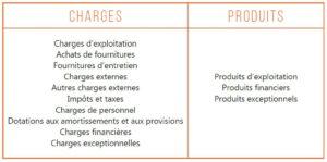 Compte de résultat prévisionnel, charges, produits
